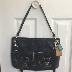 COACH Navy blue distressed leather!